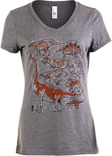 Dinosaur Species | Dino Mom Birthday Party Costume Top V-Neck T-Shirt for Women-(Grey,S) -