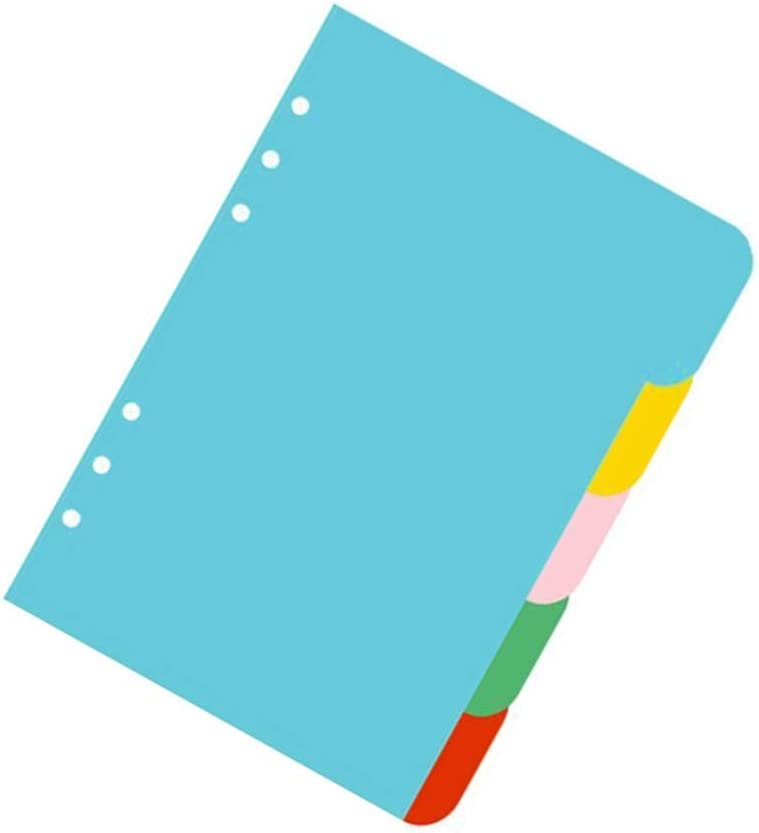 proyecto de clasificaci/ón A5 cuaderno relleno colorido Toyvian 5 colores pesta/ñas separadoras A5 /índice 6 agujeros