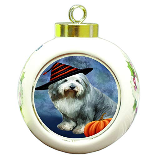 Doggie of the Day Happy Halloween Old English Sheepdog Wearing Witch Hat with Pumpkin Round Ball Christmas Ornament RBPOR55032