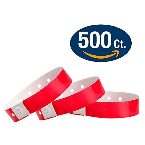 - WristCo Plastic Wristbands, Neon Red 500ct (P1-03)