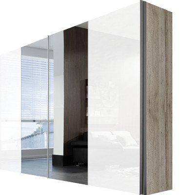 Solutions 04390-167 Schwebetürenschrank 2-türig Korpus Polarweiß / Front lack weiß und Spiegel Griffleisten alufarben, 68 x 300 x 216 cm