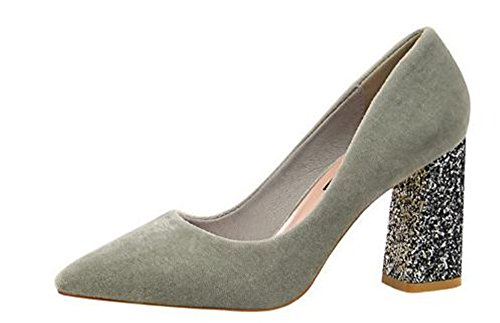 coollight Women Suede High Heel Pumps Classic Pointy Toe Slip On Formal Block Shoes Work Pumps Shoes (Gray 39/8 B(M) US Women) Patent Peek A-boo Dress