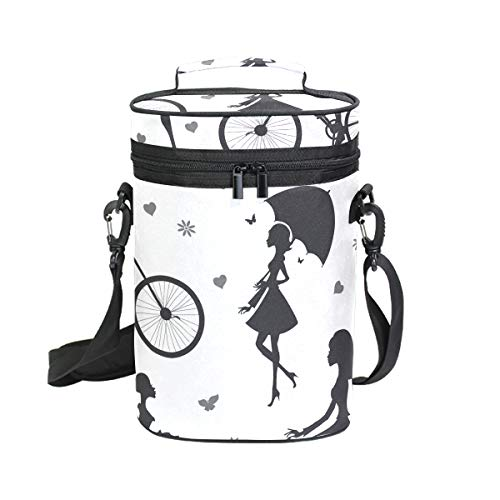 Mr.XZY Beautiful Girl Umbrella 2 Bottle Wine Tote Carrier Flowers Heart Bicycle Wine Carrier Travel Padded Cooler Bag with Shoulder Strap 2010175