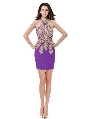 High a Purple Dresses Erosebridal Neck Lace Mermaid Womens Long Prom Sexy Gown Evening gqXS6
