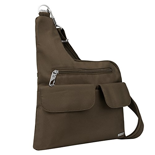 Travelon Anti-Theft Cross-Body Bag, Chocolate, Two Pocket