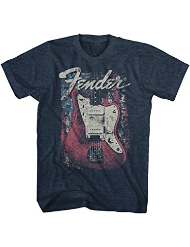 Live Nation Fender Guitar Flag Heather Navy T Shirt  Officially Licensed