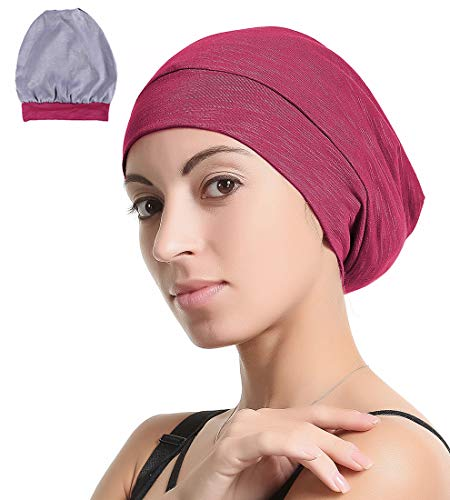 Slap Night Cap Sleep Hat Beanie - Burgundy Wine Red Women Organic Bamboo Satin Silk Lined Bonnet Summer Scarf Hair Cover for Lady Lightweight Light Thin Jersey Chemo,Gifts for Women
