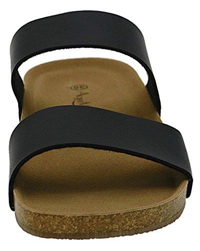 AgeeMi Shoes Mujere Puntera Abierta PU Plano Sandalias Negro PU (EuL06)