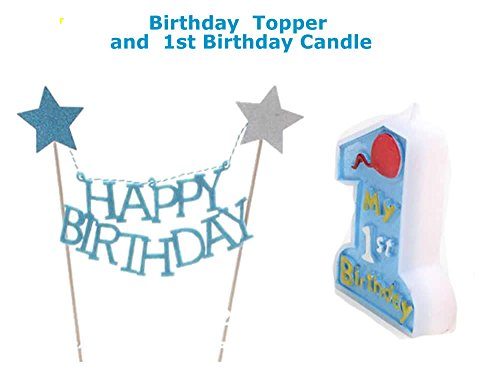 Blue Birthday First Topper Candle product image