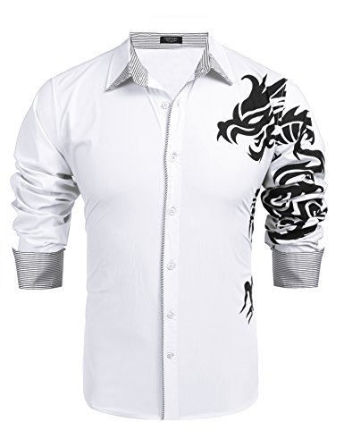 Coofandy Men's Casual Button Down Shirt Print Long Sleeve Dress Shirt,White Dragon Print,XXLarge