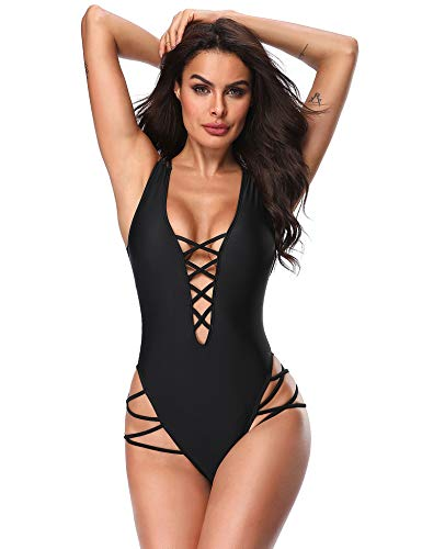 Vibesicily Women Sexy Lace Up One Piece Swimsuit Plunge Deep V Neck Criss Cross Bathing Suit Monokini Swimwear Elegant Black