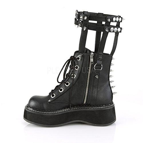 Demonia Damen Gothic Ankle Boots mit Wadenriemchen Emily-357 Schwarz Schwarz