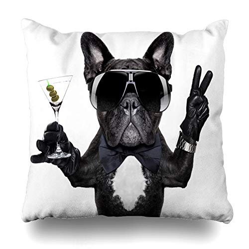 Ahawoso Throw Pillow Cover Square 20x20 Sunglasses French Bulldog Dog Martini Cocktail Victory Birthday Sports Recreation Cool Pug Alarm Alcohol Zippered Cushion Pillow Case Home Decor Pillowcase
