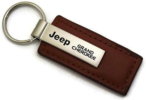 Au-Tomotive Gold Jeep Grand Cherokee Leather Key Chain Brown Rectangular Key Ring Fob INC
