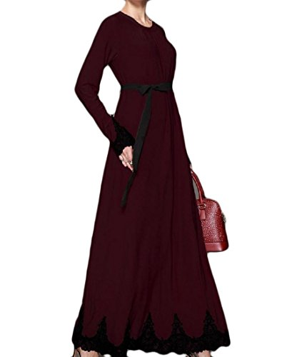 Red Wine Sleeve Women Party Coolred Long Muslim Lace Dresses Waist Straps Splice XxxPvS