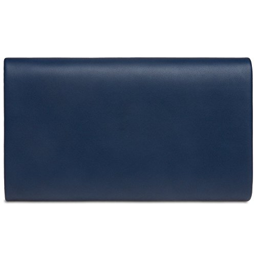 CASPAR Evening Blue TA363 Elegant Decor Dark Bag Ladies Clutch Chain and with Metal Envelope wXXdOnrxq