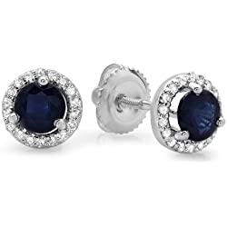 14K White Gold Ladies Halo Style Stud Earrings