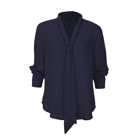 Mujer blusa otoño,Sonnena ❤ Camisa de manga larga sólida para mujer Corbata informal