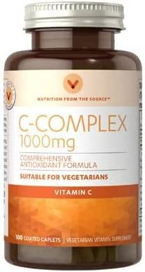 Vitamin World C-Complex 1000 mg.Comprehensive Antioxidant Formula Suitable for Vegetarians 100 Coated caplets