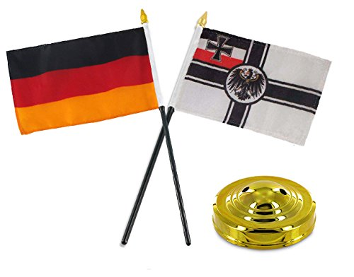 ALBATROS German Germany with WWI Imperial Flag 4 inch x 6 inch Desk Set Table Stick with Gold Base for Home and Parades, Official Party, All Weather Indoors Outdoors