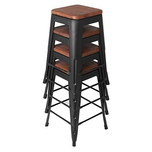 Changjie Furniture 24 Inch Swivel Metal Bar Stool Stack-able for Indoor-Outdoor Kitchen Counter Barstools Set of 4 (24 inch, Swivel Matte Black Wooden)