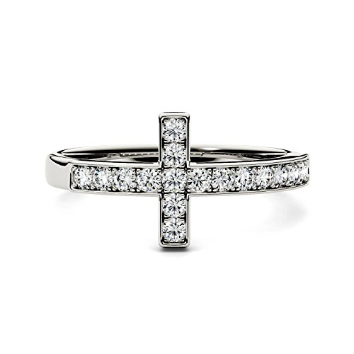 Forever Classic 1.7mm Round Cross Ring-size 5, 0.34cttw DEW By Charles & Colvard by Charles & Colvard (Image #3)