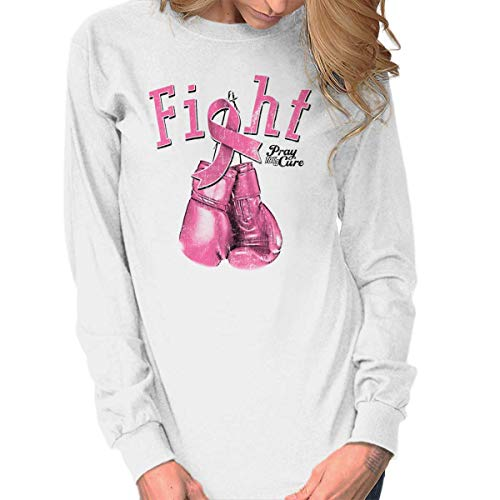 Classic Teaze Fight BCA Support Awareness Breast Cancer Long Sleeve T Shirt White