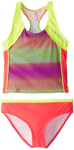 Big Chill Girls 7-16 Optic Athletic Tankini, Pink, 14/16
