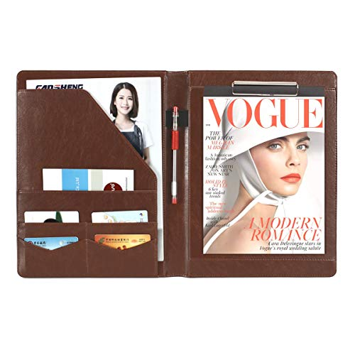 Megrez PU Leather Professional Business Executive Padfolio Interview Resume Document Organizer with Business Card Holder and Accessory Pocket, Brown