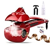Automatic Hair Steam Curler Ceramic Curling Iron Bar Salon Professional Car Rotating Styling Steamer Spray Curl Spiral Machine Tool with LED Digital Display