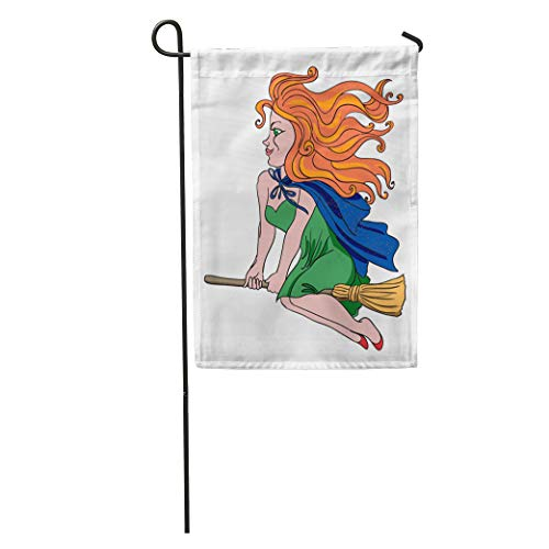 Semtomn Garden Flag Red Authentic Cartoon of Witch Riding Broomstick Artistic Freehand Author Home Yard House Decor Barnner Outdoor Stand 12x18 Inches Flag -