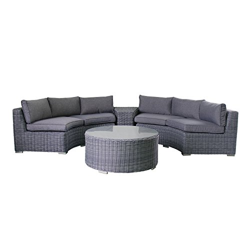 Magari MAG411-4C 4 Piece Outdoor Furniture Complete Round Curved PE Wicker Rattan Patio Garden Set, Dark Grey (Outdoor Round Sectional Furniture)