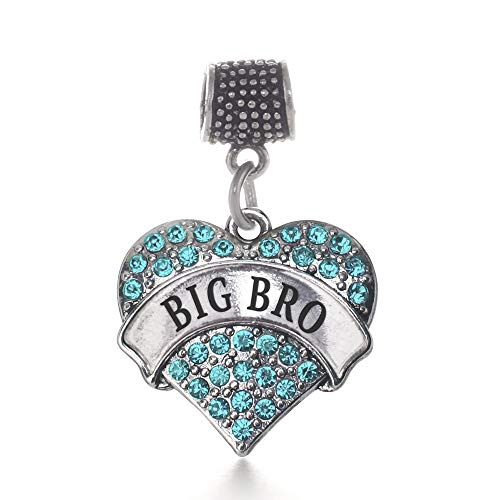 Inspired Silver - Big Bro Aqua Memory Charm for Women - Silver Pave Heart Charm for Bracelet with Cubic Zirconia Jewelry
