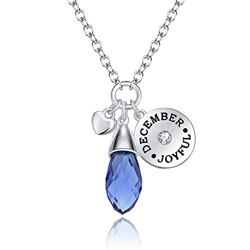 December Birthstone Necklace Blue Topaz Swarovski Elements Crystal Pendant for Women Valentine's Day - Topaz Swarovski Stone