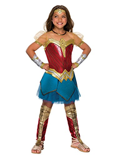 Rubie's Costume Girls Justice League Premium Wonder Costume, Large, Multicolor]()