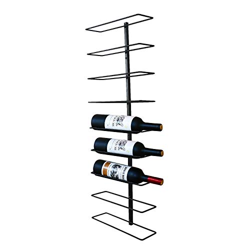 Asense Wall-Mounted Vertical Wine Rack/Towel Rack, Iron Metal, Black Color, Holds 9 Bottles