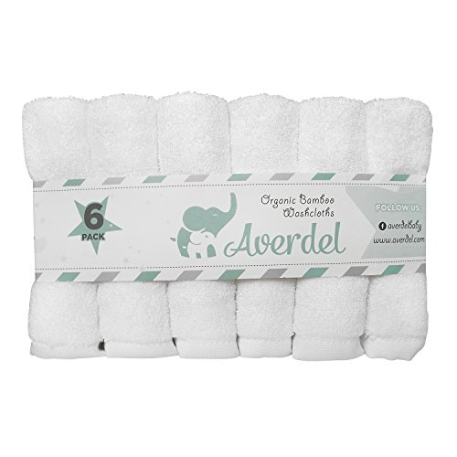 Organic Bamboo Baby Washcloths 6 pack -White -Gender Neutral