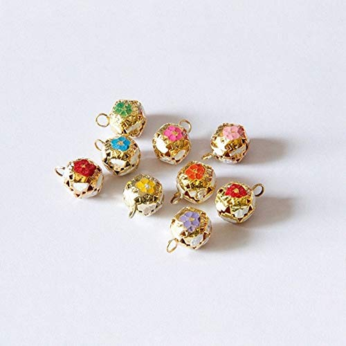Calvas 20Pcs/Set Colour Oil Drop Gold Bell Flower Pettern Fashion Hollow Charms Christmas Bell DIY Making Jewelry Gift Calvas Accessory - (Color: Mixed Color)