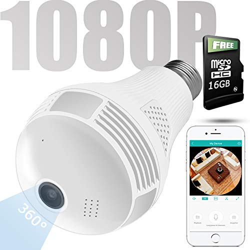 Wireless 1080P Bulb Camera WiFi Home Security Surveillance 360° Fisheye Lens Panoramic with Two Way Talking, Motion Detection (16G)