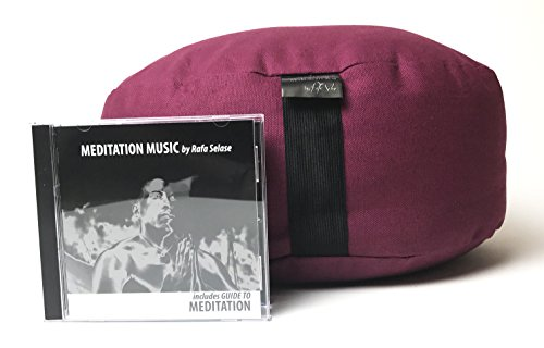 Meditation Pillow + Meditation Music CD | Cotton Spine Support Sitting Pillow + Instrumental CD | Guided Meditation Manual + Relaxation Music + Zafu Pillow