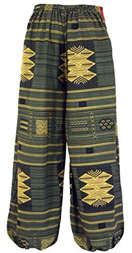 Et Tissée Harem Large Guru Taille shop Avec Vert 38 Taille Bloomers Ikat Coton Yoga De Olive Bleu Pantalon g6wq48
