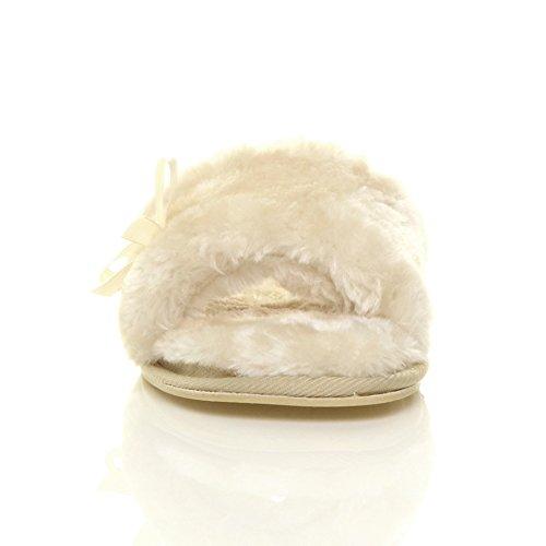 Ajvani - Zapatillas de estar por casa de Material Sintético para mujer Beige