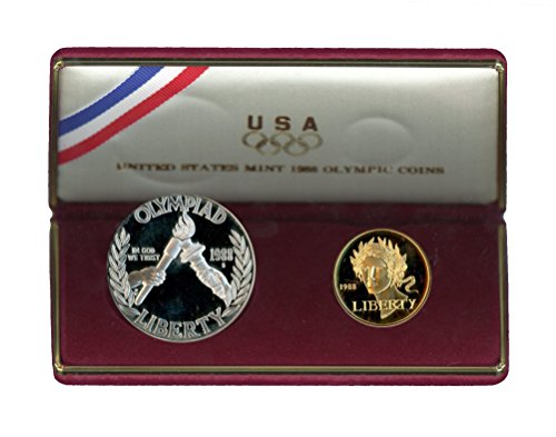 - 1988 Olympic 2 Coin Commemorative Silver & Gold Set Proof