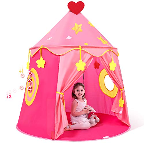 Peradix Kids Pop Up Ball Pit Play Tent, Castle Princess Girls Boys Play Tent Playhouse With Target and 3 Sticky Balls Toys Game for Indoor /Outdoor-Pink