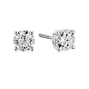 Best Epic Trends 413ZYHtUjGL._SS300_ Amazon Collection AGS Certified 14k White Gold Diamond with Screw Back and Post Stud Earrings (J-K Color, I1-I2 Clarity)