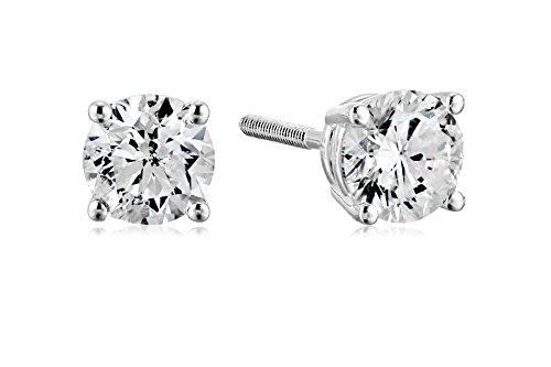 Certified 14k White Gold Diamond with Screw Back and Post Stud Earrings (3/4cttw, J-K Color, I1-I2 Clarity)