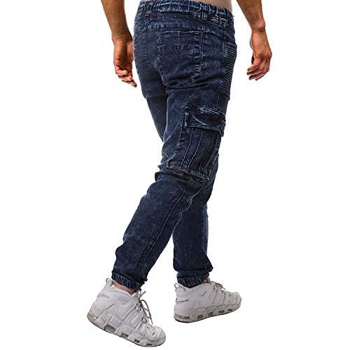 Look Moda Usato Stile Bermuda Pieghettato Sportivi Slim Denim Jeans Con Elastico Tasche Multiple Pantaloni Pieghe Colour Retro Uomo Regular A Lunghi Semplice 8w6qcBfZx
