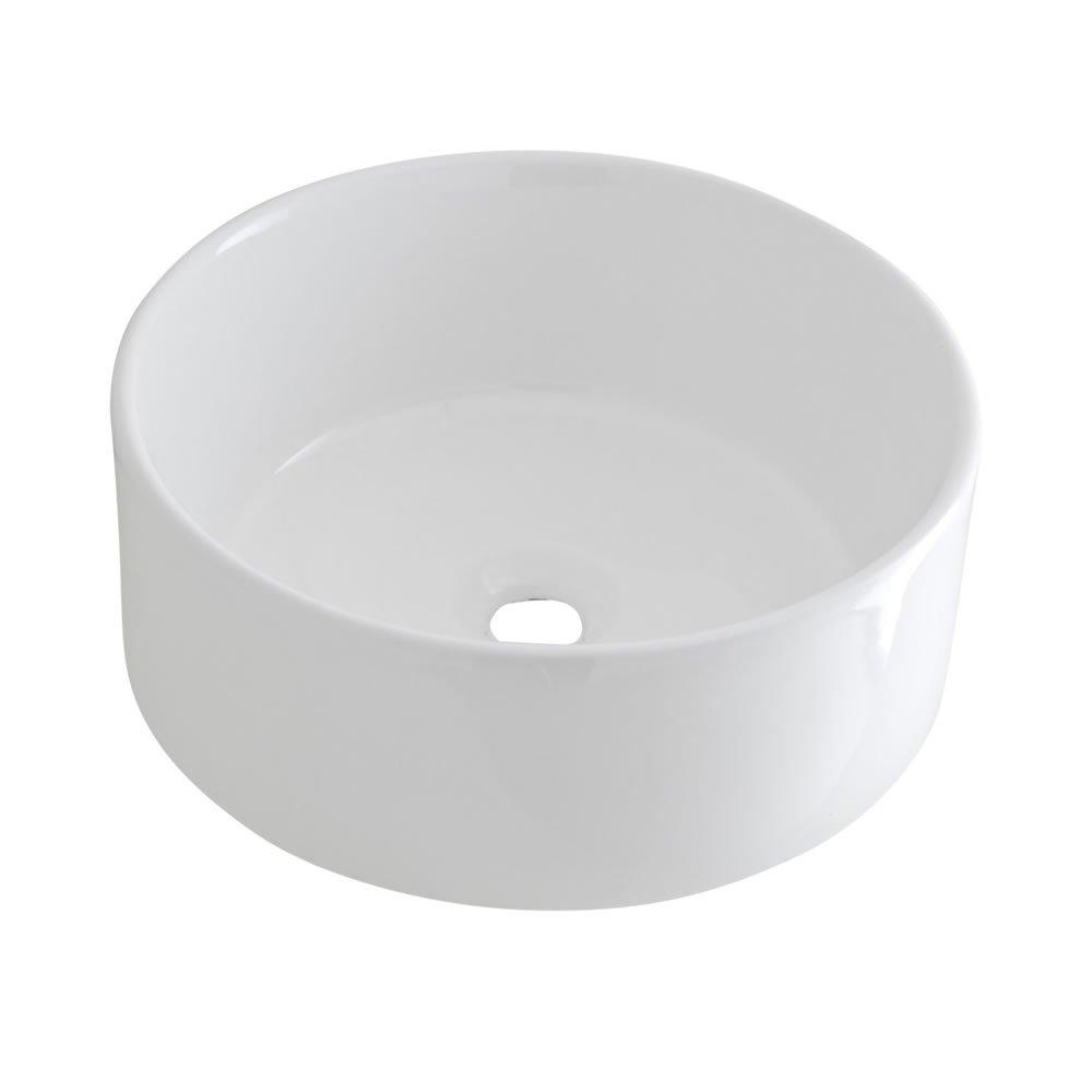 /& H/ängewaschbecken 400mm Breite Covelly Waschbecken Waschtisch Hudson Reed Aufsatz Moderne Waschschale aus Keramik in Wei/ß Rund