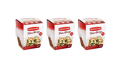 Rubbermaid TakeAlongs 2.1-cup BPA-free Mini Deep Squares Containers + Quik Clik Seal Lids , 15 count (Rubbermaid Stackable Baskets)