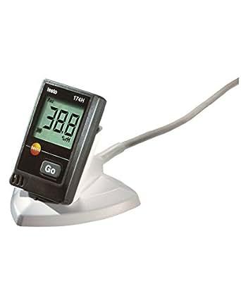 Testo 0572 0566 174H - Datalogger para temperatura y humedad, 2 canales, incluye una interfaz USB, color negro